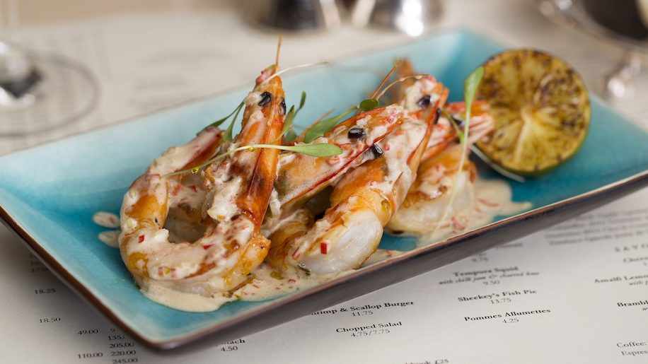 Griddled prawns with coconut lemongrass at J Sheekey Atlantic bar