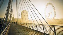 Contemporary Bridge In London At Dawn