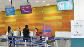 Cathay Pacific dedicated check-in counters at Shenzhen Shekou Cruise Home Port