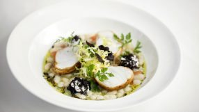 Roast Cornish monkfish wrapped in pancetta, cannellini beans, black truffle, quail eggs