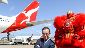 Qantas CEO Alan Joyce at the launch of the airline's Sydney-Beijing service