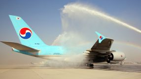 Korean Air A380 arriving at Dubai World Central