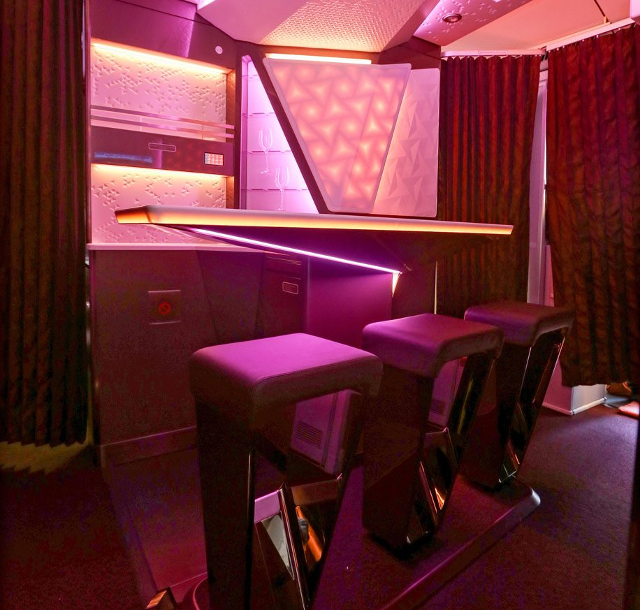 Redesigned Upper Class bar on Virgin Atlantic's A330