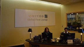United Global First lounge entrance, San Francisco
