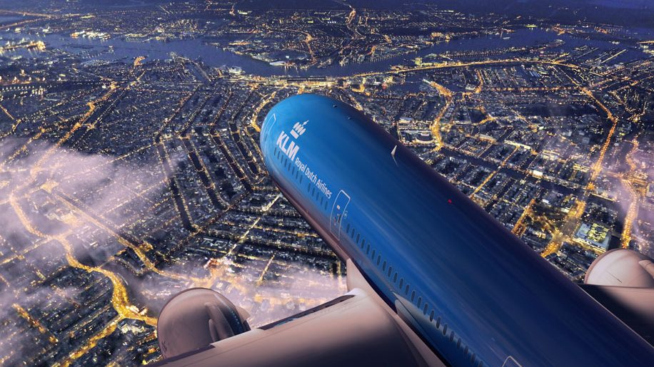 KLM B787-9 over Amsterdam