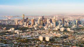 An aerial view of central Melbourne, in Australia's Victoria State, taken shortly after dawn.