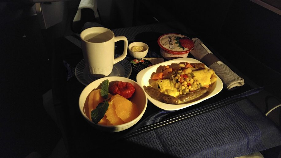 United B777-300ER Polaris Business breakfast