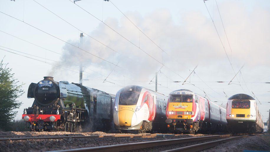Flying Scotsman travels with modern trains to celebrate British railways