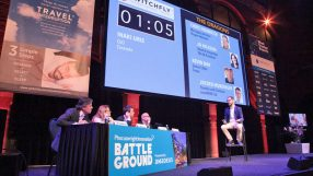 Caravelo pitching at the Phocuswright Battleground