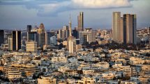A view to the east, depicting the cityscape of downtown Tel-Aviv and its neighboring city Ramat-Gan at dusk. This is the central skyscraper area in the biggest metropolis in Israel.