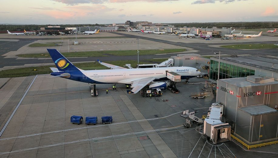 Rwandair-A330-parked-LGW