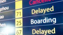 Detailed flight information board showing the flights delayed.