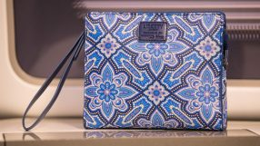 British Airways First amenity kit by Liberty London, featuring the Indiana print