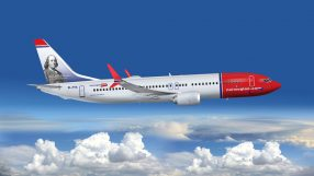 Norwegian B737 Max with Benjamin Franklin tailfin