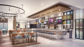 Rendering of refreshed Hilton Garden Inn bar