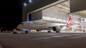 Qantas's first B787-9 Dreamliner emerges from the paint shop